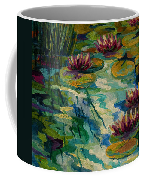 Water Lily Coffee Mug featuring the painting Lily Pond II by Marion Rose