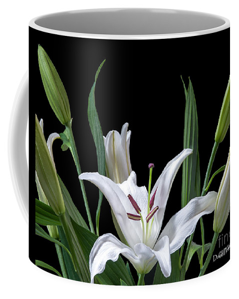 Lilies Coffee Mug featuring the photograph A White Oriental Lily Surrounded by David Perry Lawrence