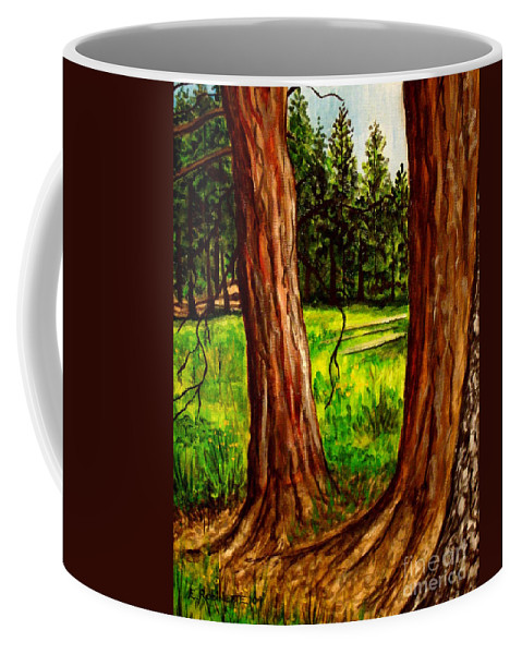 Landscape Coffee Mug featuring the painting Lime Meadow by Elizabeth Robinette Tyndall
