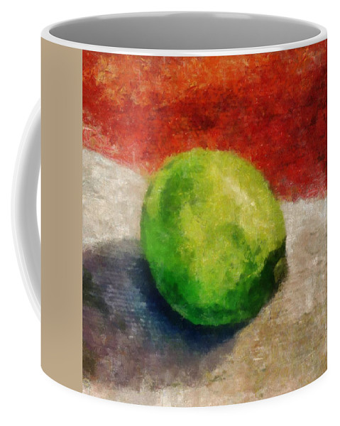 Lime Coffee Mug featuring the painting Lime Still Life by Michelle Calkins