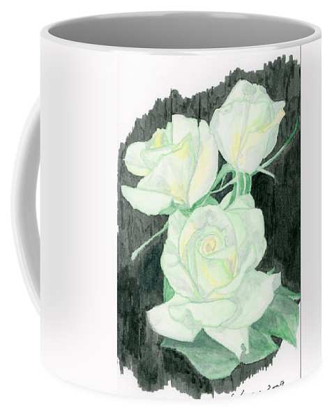 Lime Sublime Roses Coffee Mug featuring the painting Lime Sublime by Alexis Grone