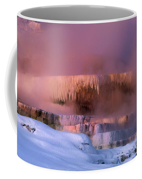 North America Coffee Mug featuring the photograph Limestone Artwork Minerva Springs Yellowstone National Park by Dave Welling