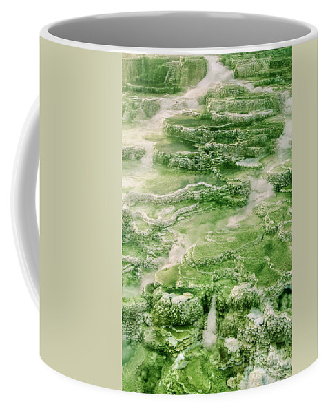 North America Coffee Mug featuring the photograph Limestone Detail Minerva Springs Yellowstone National Park by Dave Welling