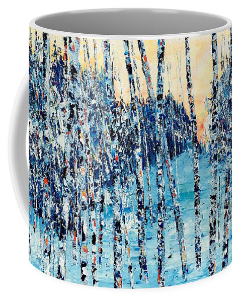 Oil Coffee Mug featuring the painting Limited Edition Birch Series 6 by Julia S Powell