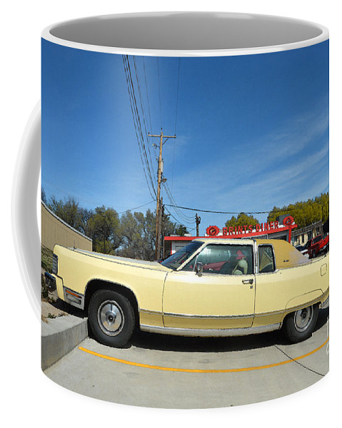 Lincoln Continental Coffee Mug featuring the photograph Lincoln Continental At Brint's Diner by Catherine Sherman