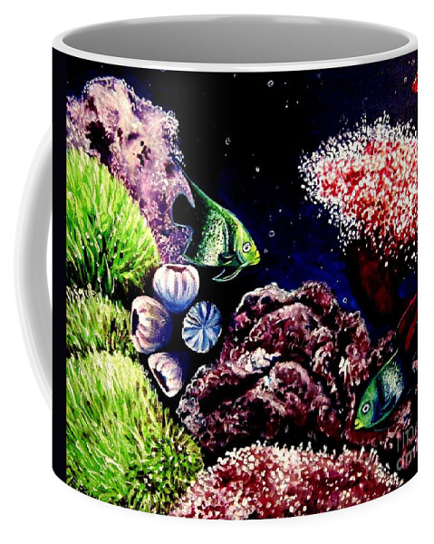 Fish Coffee Mug featuring the painting Lindsay's Aquarium by Elizabeth Robinette Tyndall