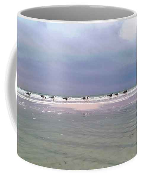 Seascape Coffee Mug featuring the photograph Line Of Seagulls by Michael Ledford