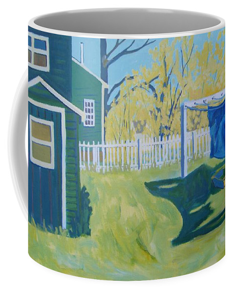 Backyard Coffee Mug featuring the painting Line Of Wash by Debra Bretton Robinson