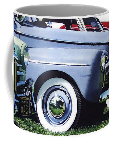 Antique Cars Coffee Mug featuring the painting Line Up by Denny Bond