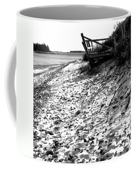 Black And White Coffee Mug featuring the photograph Linwood's Dock 23 by Timothy Bischoff
