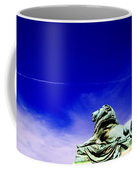 Washington Statue Of Lion Coffee Mug featuring the photograph Lion Bluesky by Alice Gipson