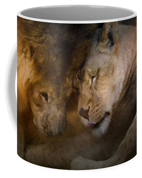 Jai Johnson Coffee Mug featuring the photograph Lion Love by Jai Johnson