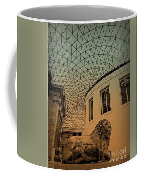 British Museum Coffee Mug featuring the photograph Lion On Guard by Diana Rajala