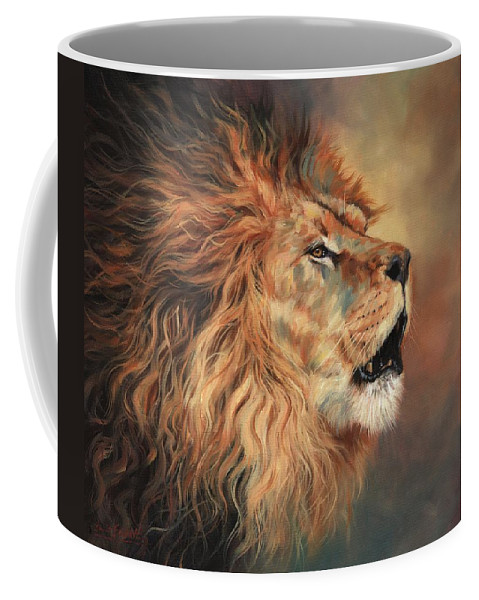 Lion Coffee Mug featuring the painting Lion Roar Profile by David Stribbling