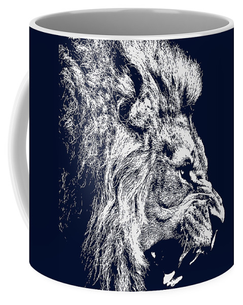 Lion Roaring Blue Portrait Coffee Mug For Sale By Am Fineartprints