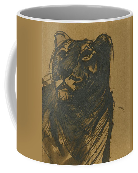Franz Marc 1880 - 1916 L�win (lioness) Coffee Mug featuring the painting Lioness by Franz Marc