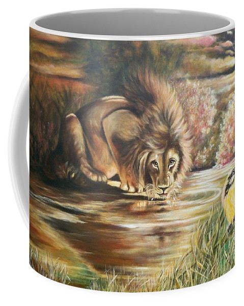 Male Lion Coffee Mug featuring the painting Blaa Kattproduksjoner      Watch Out For Yellow Bird by Sigrid Tune