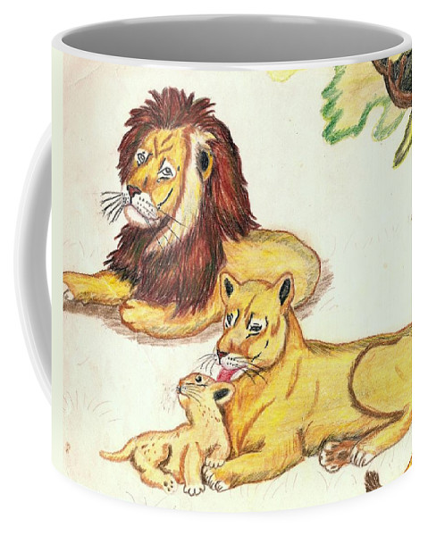 Lions Coffee Mug featuring the drawing Lions Of The Tree by George I Perez
