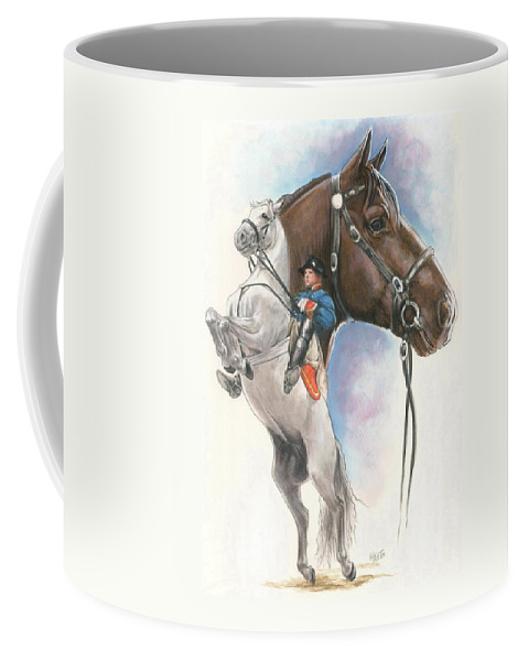 Spanish Riding School Coffee Mug featuring the mixed media Lippizaner by Barbara Keith