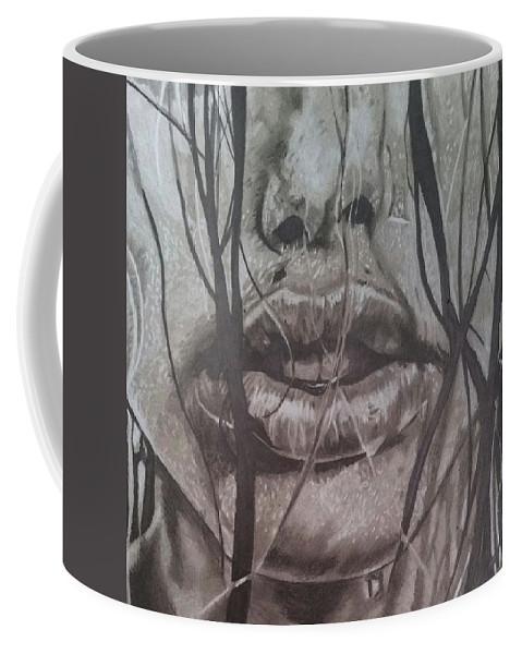 Sexy Coffee Mug featuring the drawing Lips by Daniel Murrell