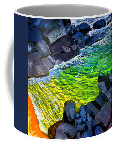 Liquid Abstract Coffee Mug featuring the painting Liquid Abstract Eleven by Richard Rochkovsky