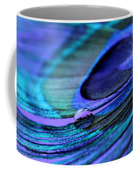 Peacock Feather Coffee Mug featuring the photograph Liquid Spell by Krissy Katsimbras