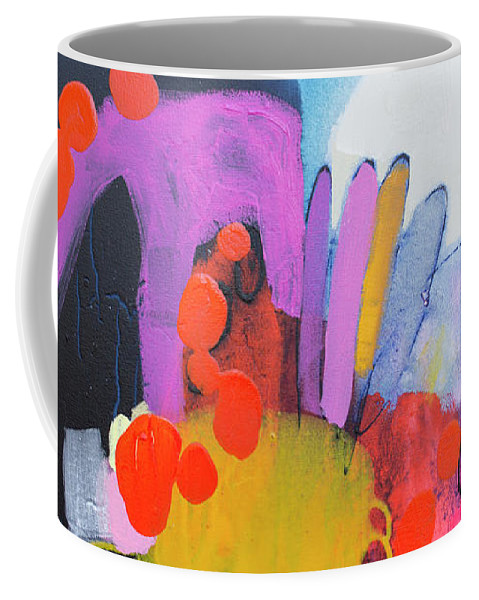 Abstract Coffee Mug featuring the painting Listen Carefully To The Night by Claire Desjardins