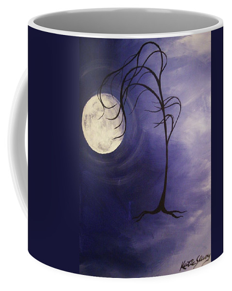 Moon Coffee Mug featuring the painting Listen by Katie Slaby