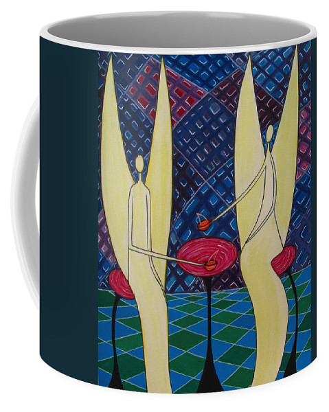 Angels Having Cofee Coffee Mug featuring the painting Lite Tea by Sandra Marie Adams