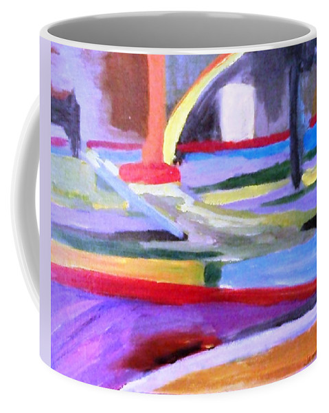 Stripes Coffee Mug featuring the painting Little Acrylic by Jamie Frier