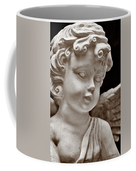 Angel Coffee Mug featuring the photograph Little Angel - Sepia by Christopher Holmes