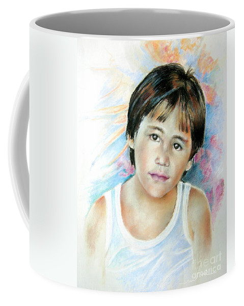 Portrait Child Coffee Mug featuring the painting Little Boy From Tahiti by Miki De Goodaboom