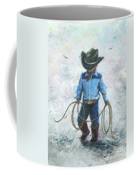 Little Cowboy Coffee Mug featuring the painting Little Cowboy Lasso by Vickie Wade