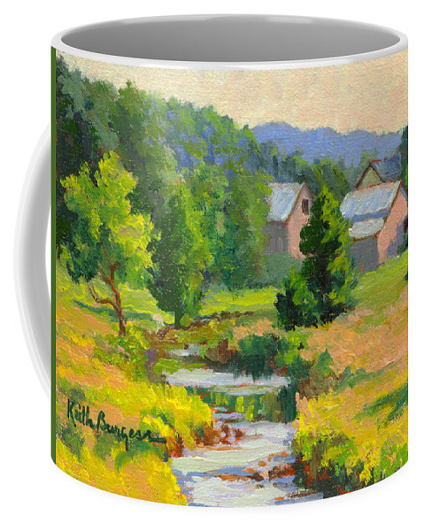 Landscape Coffee Mug featuring the painting Little Creek Farm by Keith Burgess