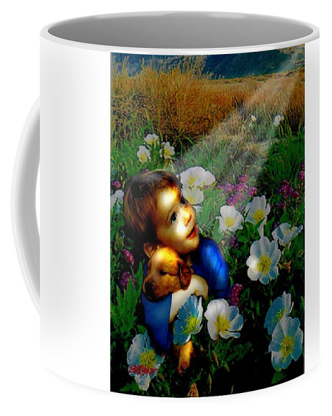 A Small Boy Loses His Puppy. Searches All Day. Finds Sick Puppy In The Rain. Now Both Are Lost Until Coffee Mug featuring the digital art Little Dog Lost by Seth Weaver
