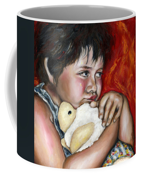 Cute Coffee Mug featuring the painting Little Fighter by Hiroko Sakai