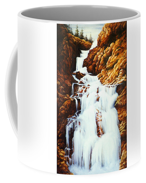 Waterfall Coffee Mug featuring the painting Little Firehole Falls by Teri Rosario