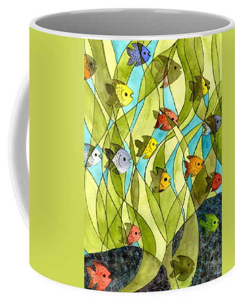 Fish Coffee Mug featuring the painting Little Fish Big Pond by Catherine G McElroy