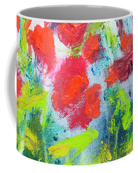 Abstract Coffee Mug featuring the painting Little Garden 01 by Claire Desjardins