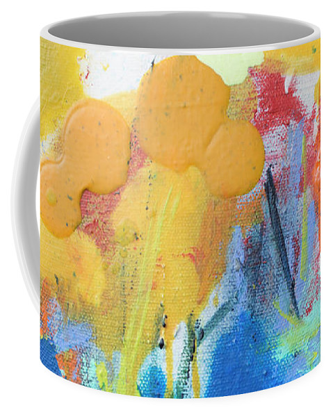 Abstract Coffee Mug featuring the painting Little Garden 02 by Claire Desjardins