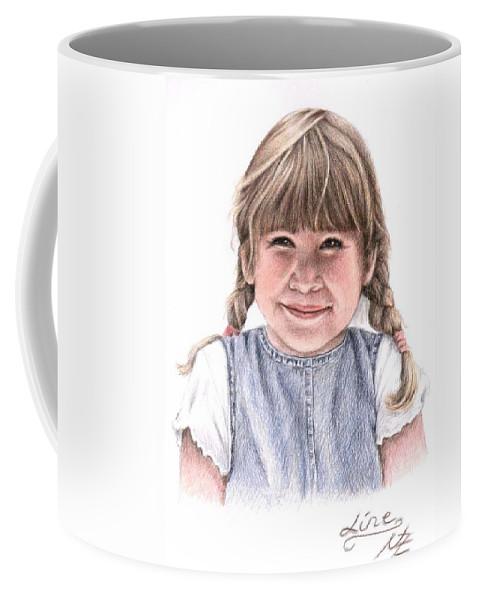 Girl Coffee Mug featuring the drawing Little Girl by Nicole Zeug