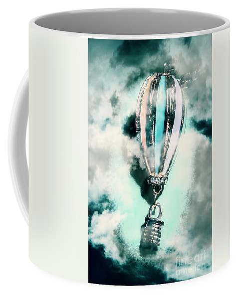 Flight Coffee Mug featuring the photograph Little Hot Air Balloon Pendant And Clouds by Jorgo Photography - Wall Art Gallery