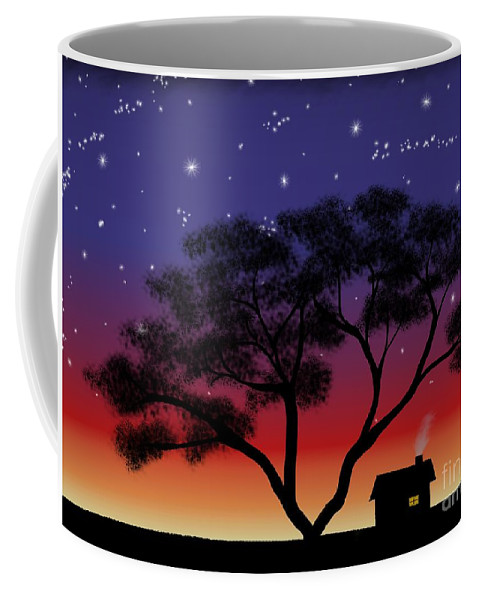 Little House At Sunset Coffee Mug featuring the painting Little House At Sunset by Methune Hively