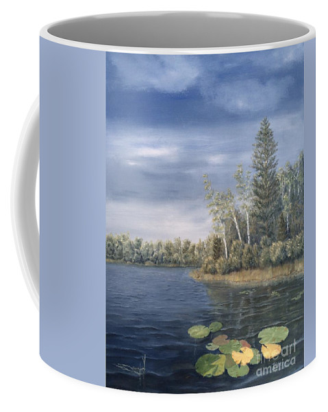 Landscape Coffee Mug featuring the painting Little Lake In The Woods by J O Huppler