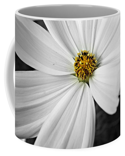 Black And White Coffee Mug featuring the photograph Little Miss Yellow by Becki Kremer