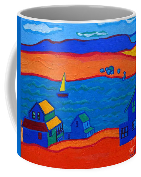 Landscape Coffee Mug featuring the painting Little Neck Cottages by Debra Bretton Robinson