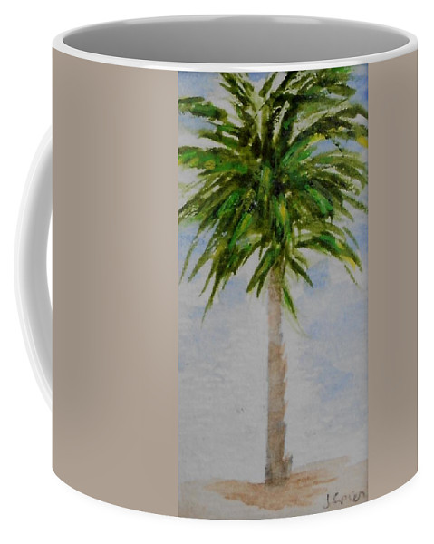 Palm Coffee Mug featuring the painting Little Palm Tree by Jamie Frier