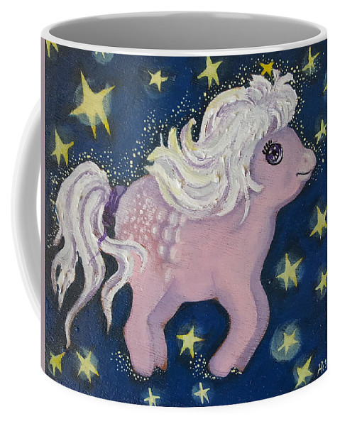 Wood Coffee Mug featuring the painting Little Pink Horse by Rita Fetisov