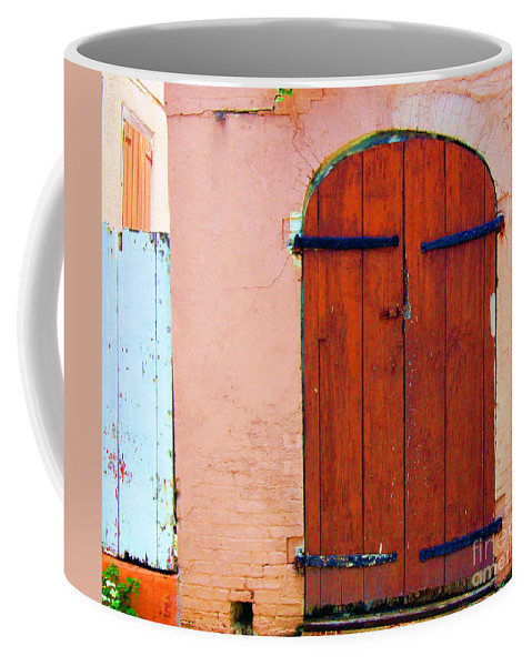 Door Coffee Mug featuring the photograph Little Pink House by Debbi Granruth