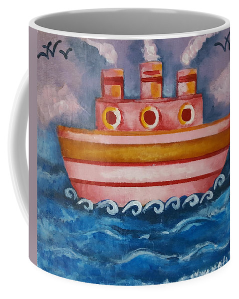 Ship Coffee Mug featuring the painting Little Pink Ship by Rita Fetisov